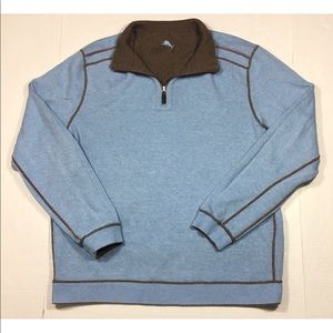 Tommy Bahama Reversible Brown Blue 1/4 Zip Sweater